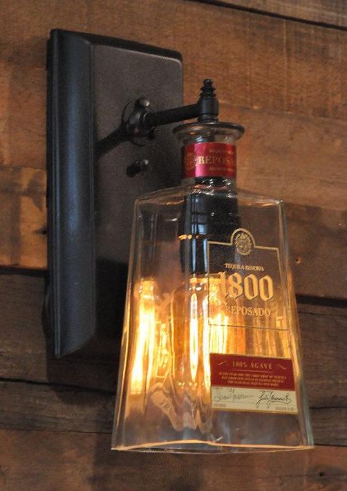 Licht Aus Einer Alten Schnapsflasche