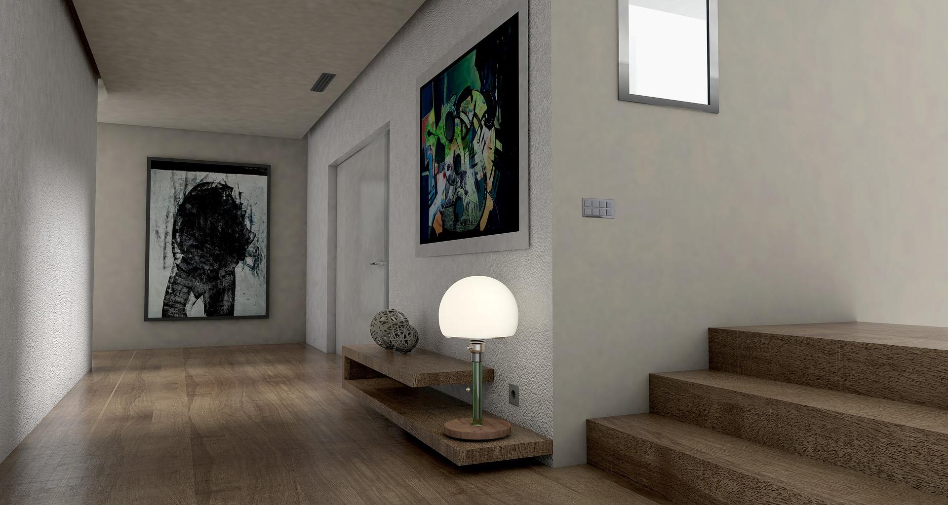 in einem treppenhaus mit anschließendem Flur leuchtete eine Lampe