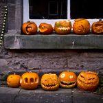 Auf dem Fensterbrett und vor der Hauswand aufgereiht stehen viele große, orangene Halloween Kürbisse, daneben ein Besen.
