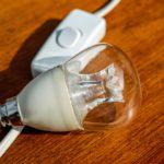eine durchsichtige Glühlampe liegt auf einem Lichtschalter am Kabel