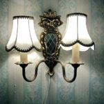 Eine leuchtende Wandlampe mit zwei Armen und Lampenschirmen