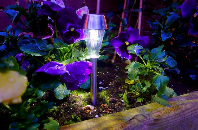 Eine kleine Erdspießleuchte steckt in einem Blumenbeet und leuchtet
