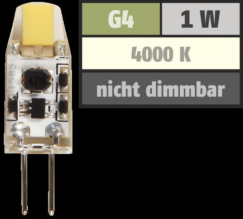 McShine LED-Stiftsockellampe McShine ''Silicia COB'', G4, 1W, 110 lm, weiß
