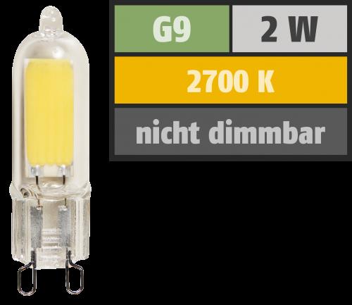 McShine LED-Stiftsockellampe McShine, G9, 2W, 220lm, warmweiß